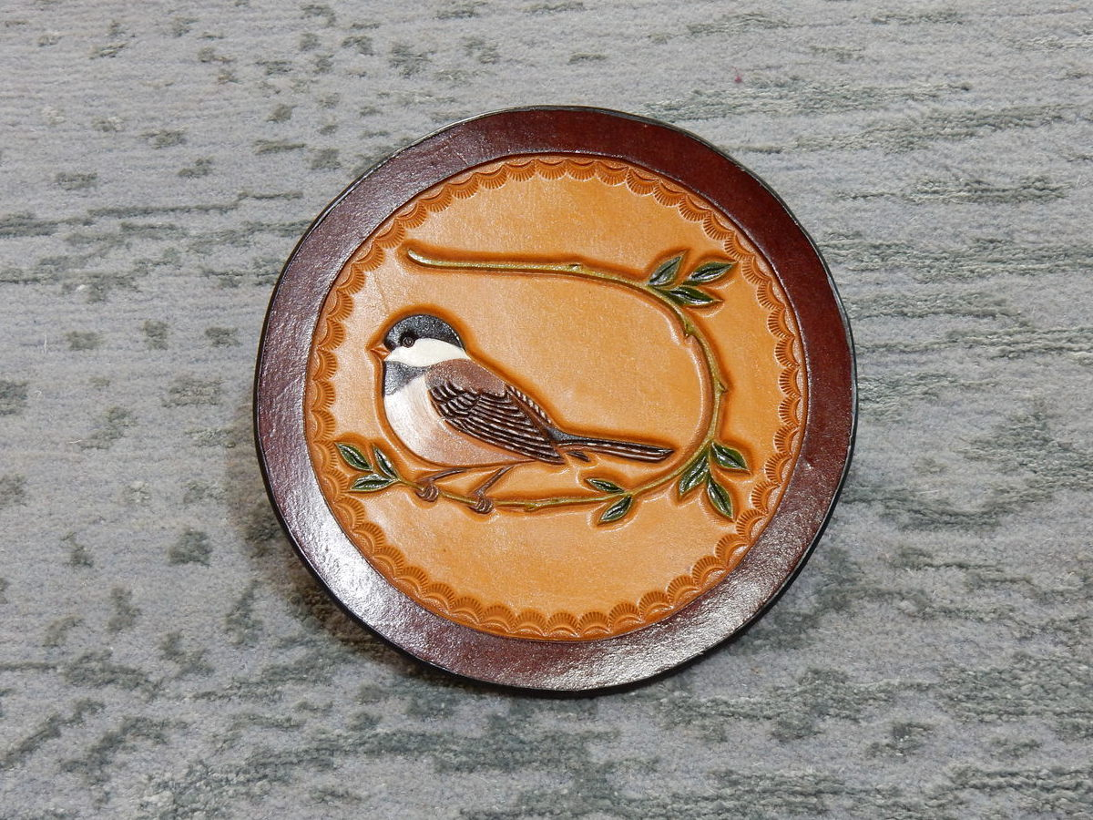 Yu Family Coal Tit Carved Leather Coaster