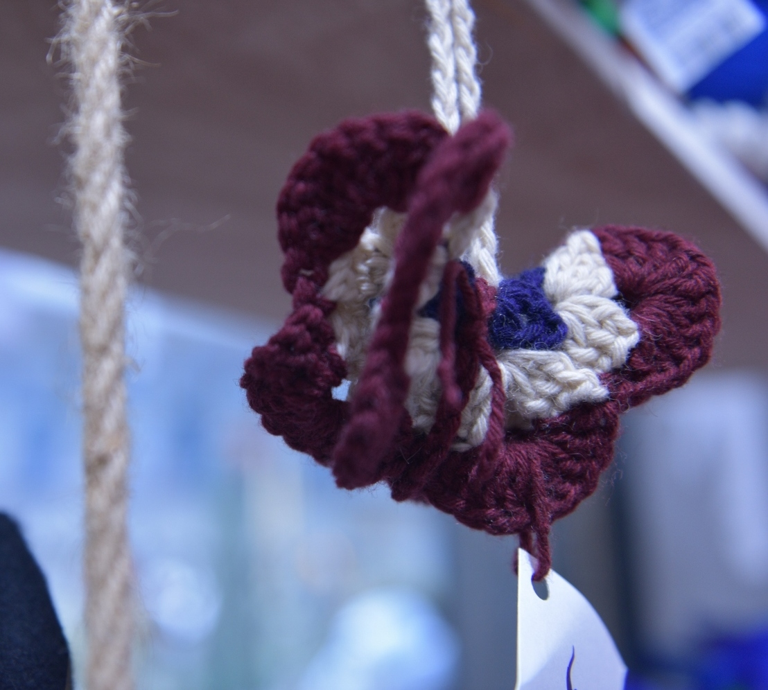 Knitted Butterfly Dangle