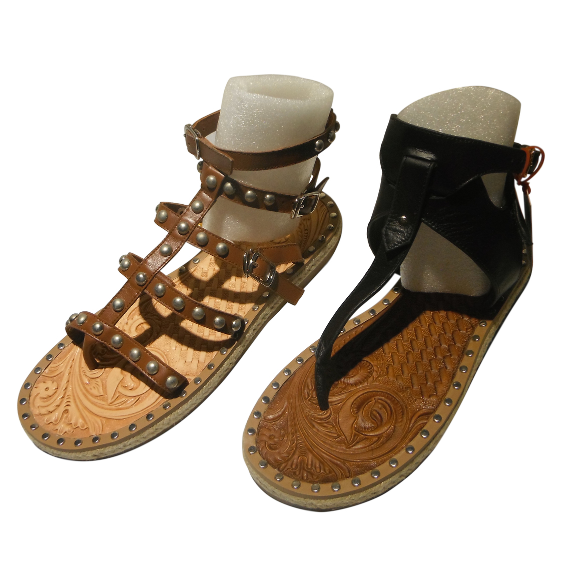 <p>Yu Family Carved Leather Sandals</p>