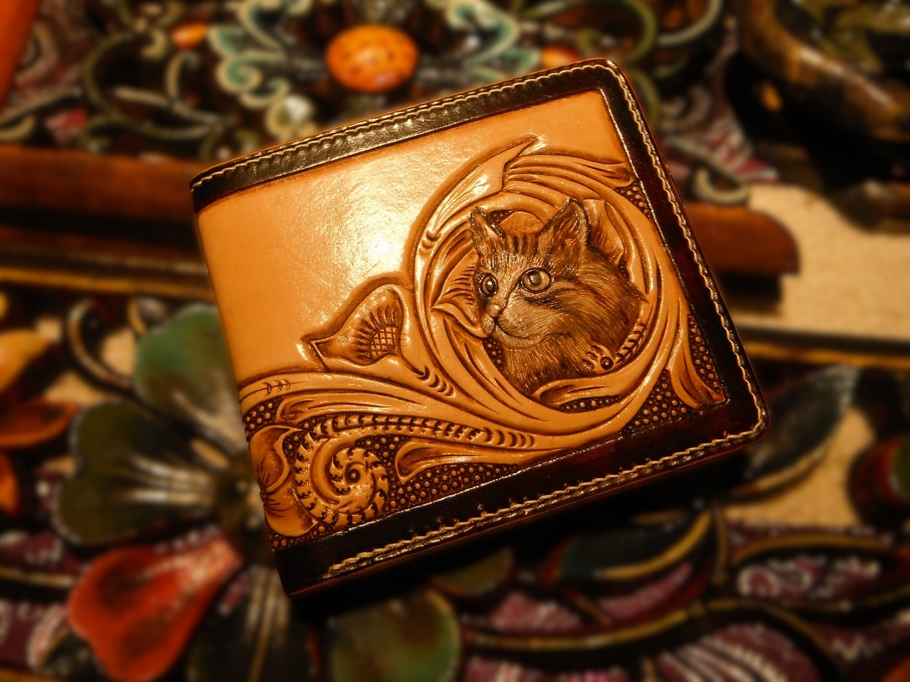 Carved Leather Cat Wallet