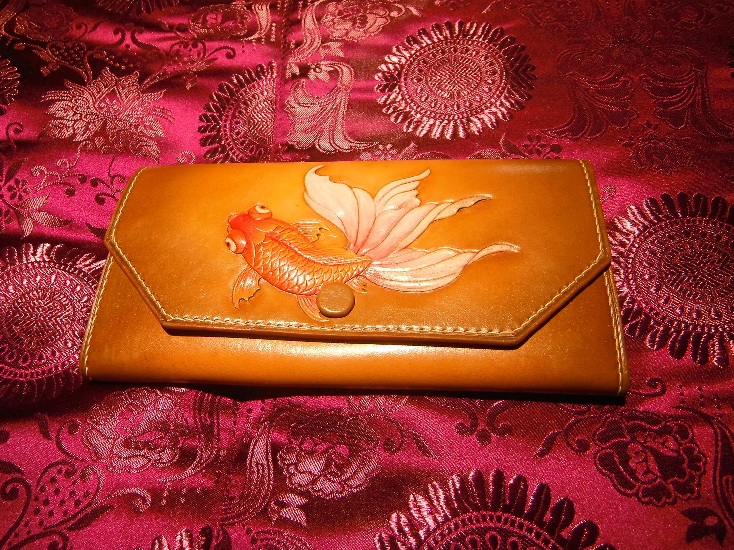 Carved Leather Goldfish Wallet