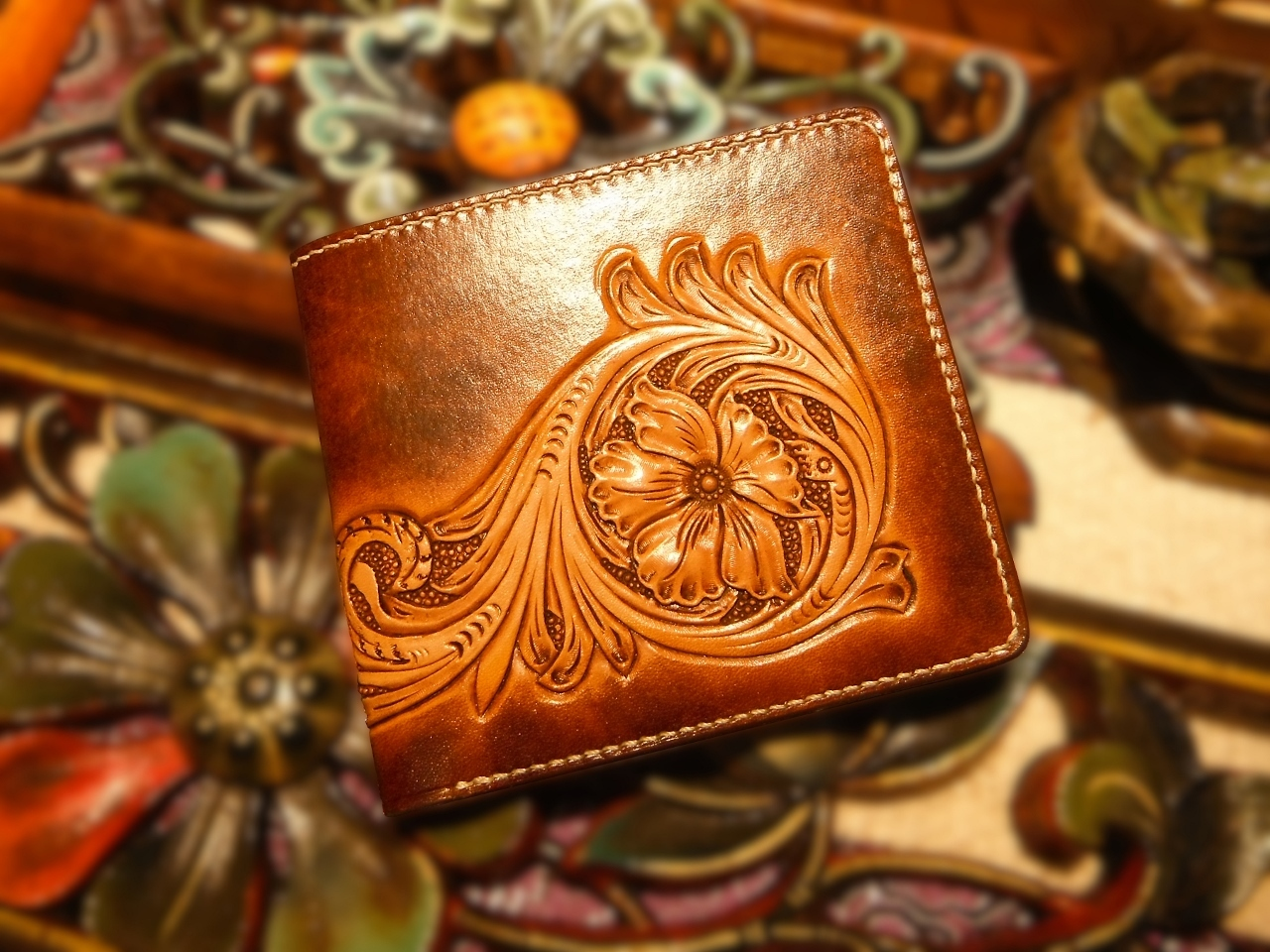 Carved Leather Floral Wallet
