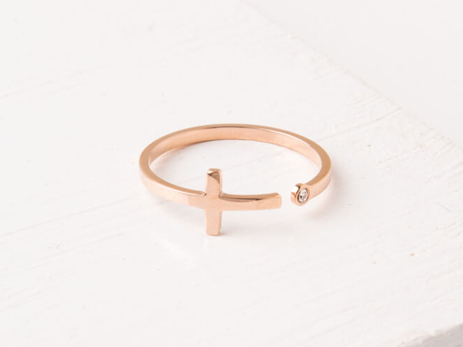 Starfish Magdalene Rose Gold Cross Ring 926-019