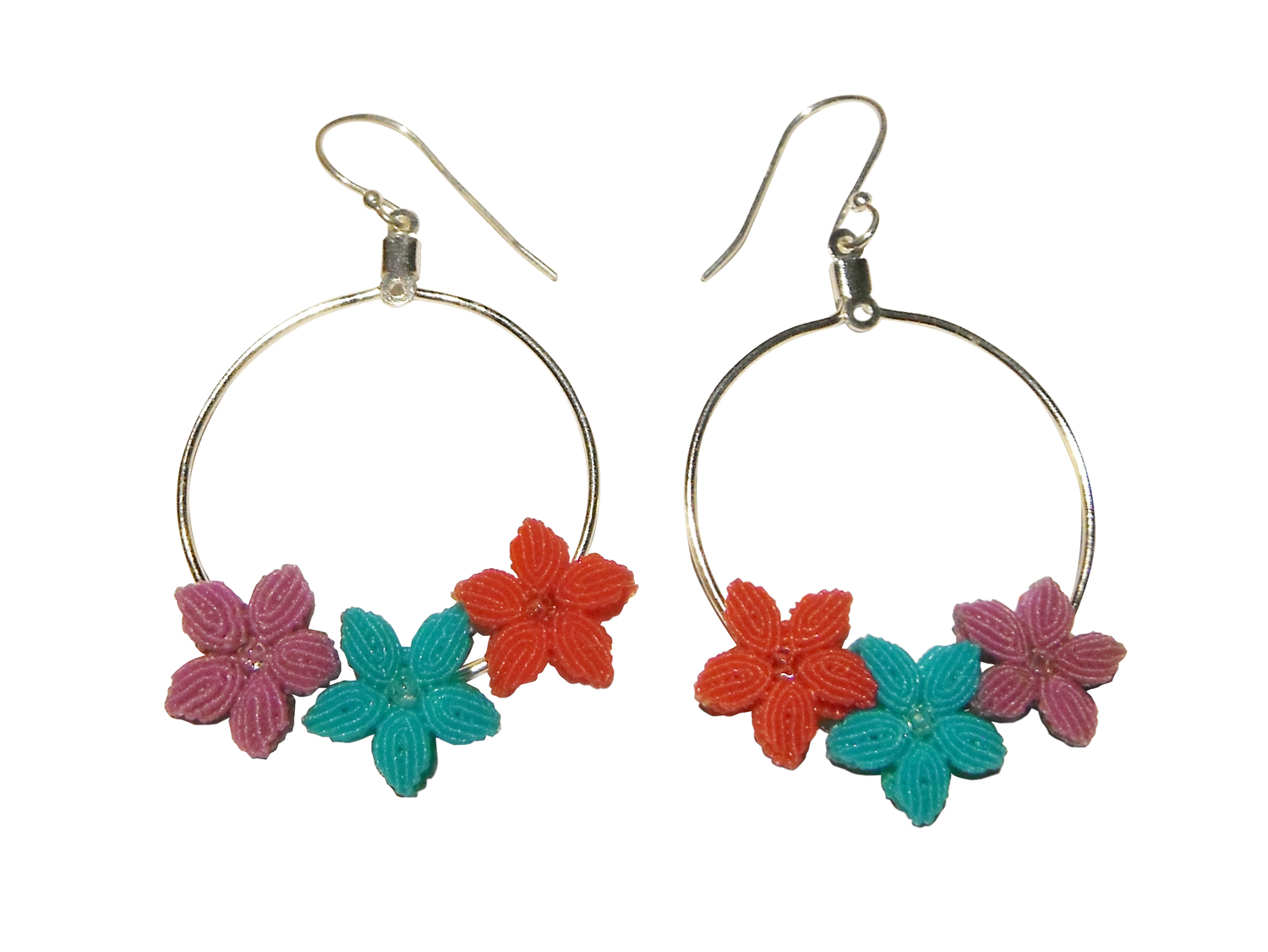 Hand-knotted Flower Earrings