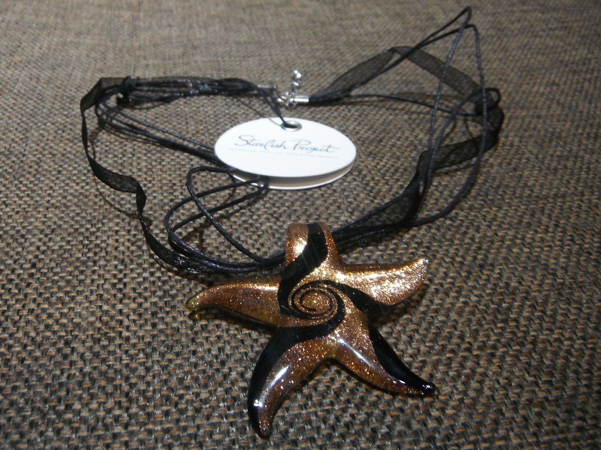 <p>Glass Swirl Starfish Necklace&nbsp;</p>